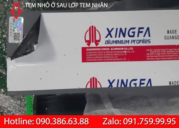 Kiểm tra tem thanh nhôm Xingfa
